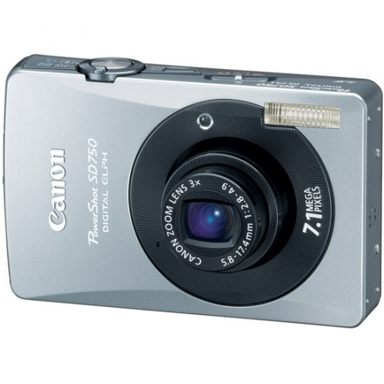 "Canon 7.1MP Digital ELPH Camera w/ 3x Optical Zoom Lens and 3.0"" LCD Silver/Black POWERSHOT-SD750BLK"