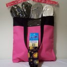 5 pc set of Tote Bag, Ladies Metallic Flip Flops,B Cool Bandana, and Sunscreen Lotion