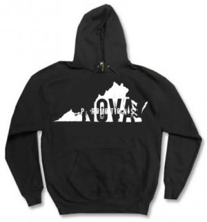 Virginia Black Pullover Hoodie Size YOUTH LARGE