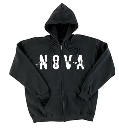 NOVA Black Zip-Up Hoodie Size LARGE