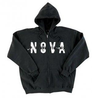 NOVA Black Zip-Up Hoodie Size LARGE