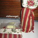 NEW Longaberger Beverage Carrier Liner Holiday Botanical Red Stripe Wine Sack + FREE SHIPPING