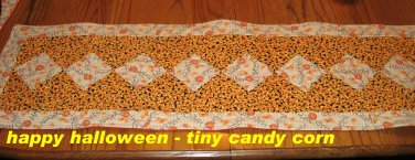 NEW Custom Quilted Table Runner Longaberger Candy Corn Happy Halloween Fabrics