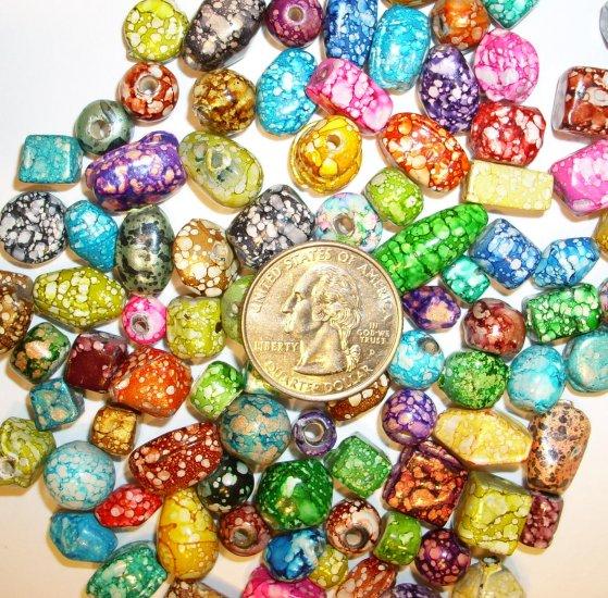 30 Mottled Indian Glass Bead Mixture