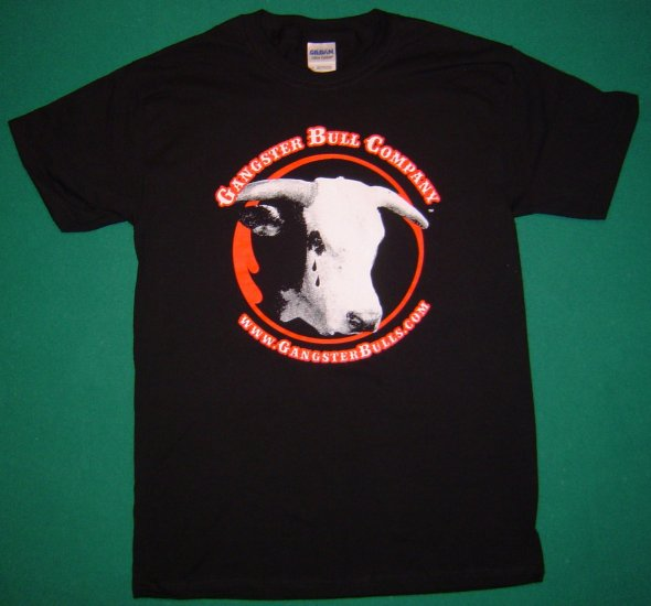 "Men's Gangster Bull Black ""Teardrop"" T-shirt --X-LARGE"
