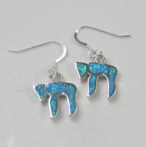 Opal & Sterling Silver Chai (Life) Earrings