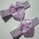 Checkered purple/white Ribbon with White Bow Clippies