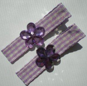 Checkered purple/white Ribbon with Purple Flower Rhinestone Clippies