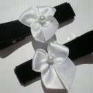 Black Velvet Ribbon with White Bow Clippies