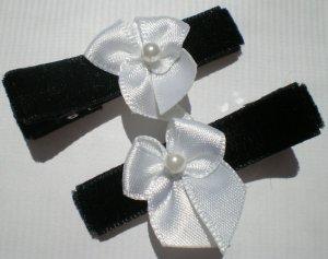 Black Velvet Ribbon with White Bow Clippies
