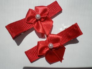 Red Ribbon with Red Bow Clippies