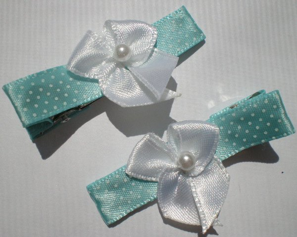 Blue/White Polkadots Ribbon with White Bow Clippies
