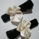 Black Velvet Ribbon with Cream Bow Clippies