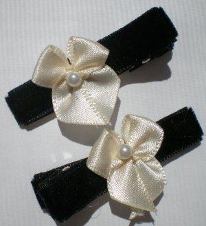 Black Velvet Ribbon with Cream Bow Clippies