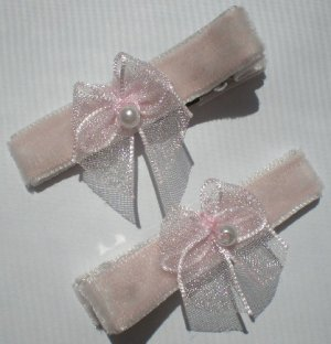 Pink Velvet Ribbon with Pink Sheer Bow Clippies