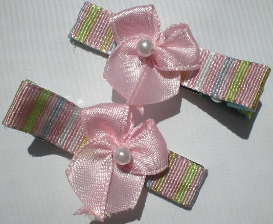 Multi colored Stripes Ribbon with Pink Bow Clippies