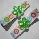 Flower prints Ribbon with Green Flower Rhinestone Clippies
