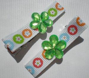 Flower prints Ribbon with Green Flower Rhinestone Clippies