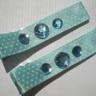 Blue/White Polkadots Ribbon with 3 Blue Rhinestones Clippies