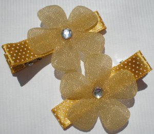 Gold/White Polkadots Ribbon with Gold glittered Flower Clippies