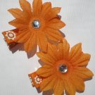 Orange Flower prints Ribbon with 11 Petal Orange Flower Clippies