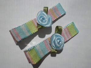 Multi colored Stripes Ribbon with  Blue Rose Clippies