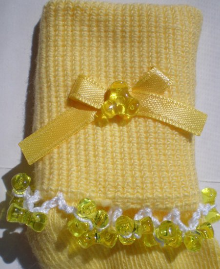 Yellow Tri Beads-Embroidered Socks