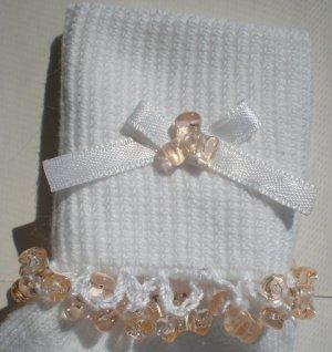 Light Peach Tri Beads-Embroidered Socks