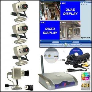 QUAD Hi-Resolution Wireless 4 Camera DVR Security Surveillance System USB