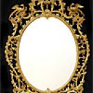 George III period, oval, carved giltwood mirror