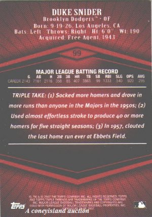 2007 Duke Snider Brooklyn Dodgers Topps Triple Threads HOF s/n 54/1350 Card 99