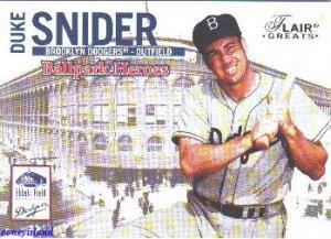 2003 Duke Snider Brooklyn Dodgers Flair Greats Ballpark Heroes Card 7BH