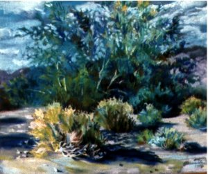 Ironwood and Rabbit Bush Watercolor by Donnalda Smolens