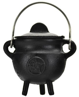 Pentacle Cast Iron 4 Inch Cauldron with Lid