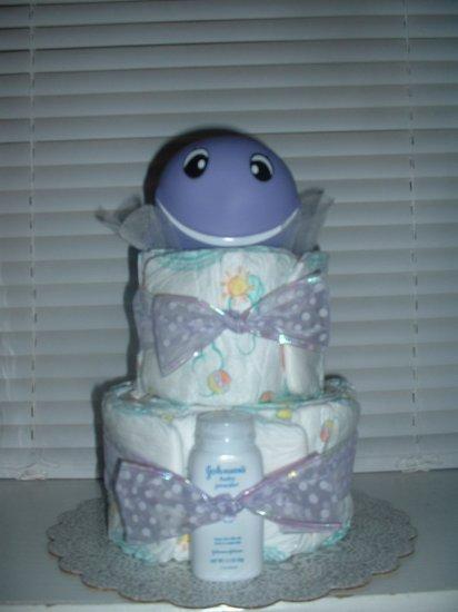 Lilac Whale 2 Tier Diaper Cake