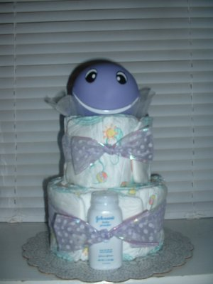 Lilac Whale 2 Tier Diaper Cake
