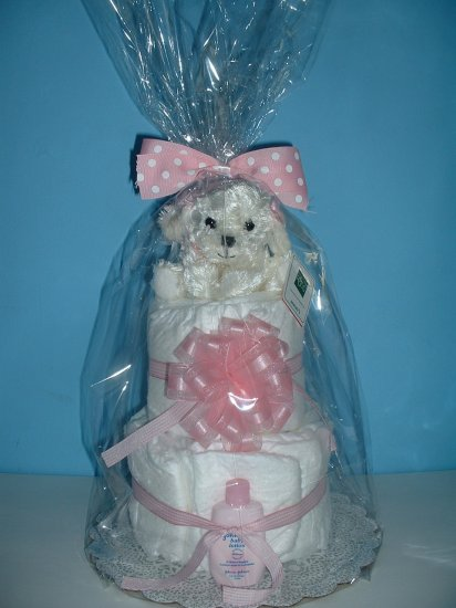 Diaper Cake-2 Tier Pink and White Puppy
