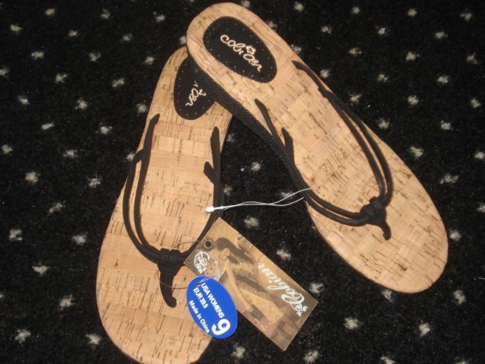 NWT  FREE SHIPPING Boutique Cabian Summer Black Wedge Beach Sandals 9