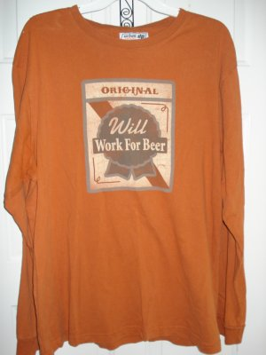 "*Free Shipping* Urban Up Pipeline Vintage Style ""Will Work For Beer"" L"
