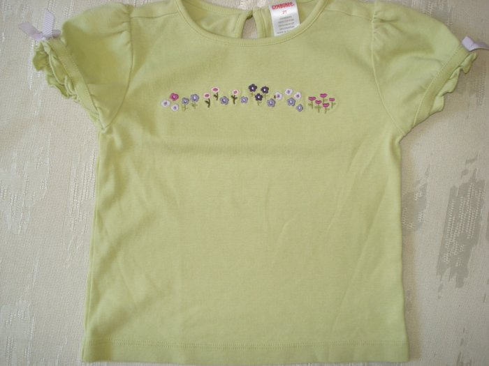 Free Shipping Gymboree 2T Lime Green Flower Top