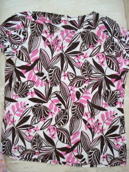 Free Shipping JM Collection Pink & Brown Women's Shirt L