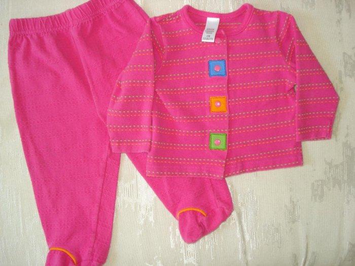 Free Shipping Fuschia Geometric Pajama Set 9mo