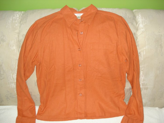 Free Shipping Orange CHRISTOPHER & BANKS Button Down Top S