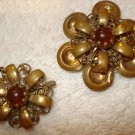 FREE SHIPPING Set of 2 Antique 1950s Gold & Brown Flower Pins
