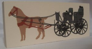 CAT'S MEOW VILLAGE ACCESSORY BLACK BUGGY AND HORSE NEW