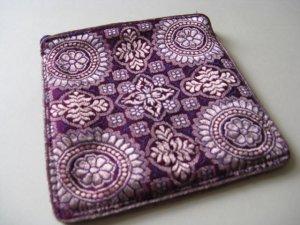 Purple and Gold Brocade Sari Change Purse