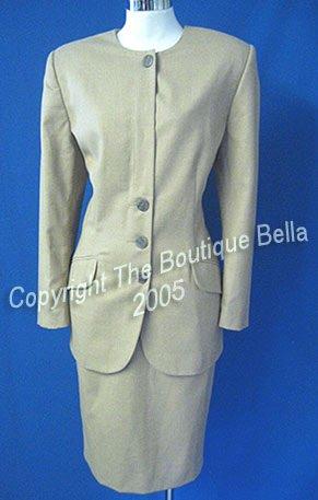Size 6-8 Executive Corporate Career Oatmeal Beige Skirt Suit