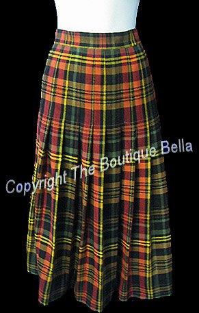 Size 8-med Classic Tartan Plaid Yellow Orange Long Skirt
