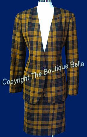 SIZE 6 - Corporate Brown Yellow Plaid Career Skirt Suit