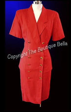 Size 4-6 Small Career Classic Doublebreast Red Dress